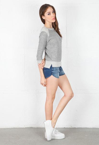 19 4t 194t crop sweatshirt with reverse raglan in gray (grey)