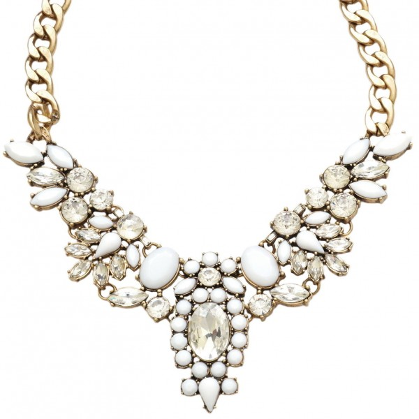 White Crystal Flower Bib Statement Necklace | Choker