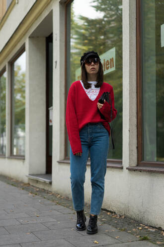 sweater tumblr red sweater denim jeans blue jeans boots black boots flat boots sunglasses knit knitted sweater