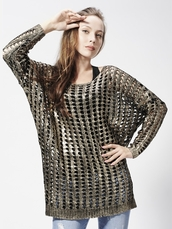 sweater,jumper,knitted sweater,cut-out,metallic gold