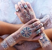 make-up,jewels,fake tattoos,tattoo,temporary,pretty,gold tattoos,gold,blue,temporary tattoo