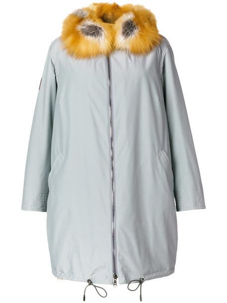 coat fur fox women wool grey