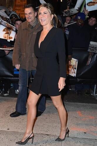 long sleeve dress jennifer aniston pumps blazer dress