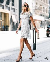 dress,mini dress,tumblr,lace dress,blue dress,date outfit,pumps,pointed toe pumps,high heel pumps,sunglasses,clutch,bag,shoes