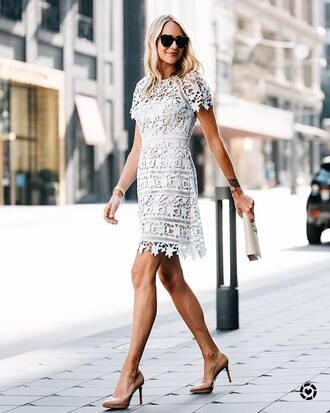 dress mini dress tumblr lace dress blue dress date outfit pumps pointed toe pumps high heel pumps sunglasses clutch bag shoes