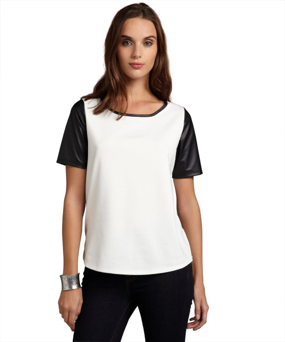 Annalee   Hope ivory and black faux leather sleeve stretch knit tee | BLUEFLY up to 70% off designer brands