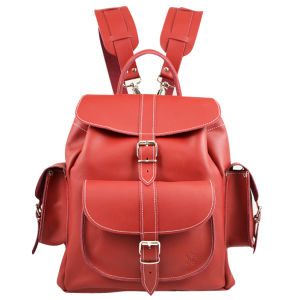 Grafea Red Hot Medium Leather Rucksack - Red 			 			 My Bag.com