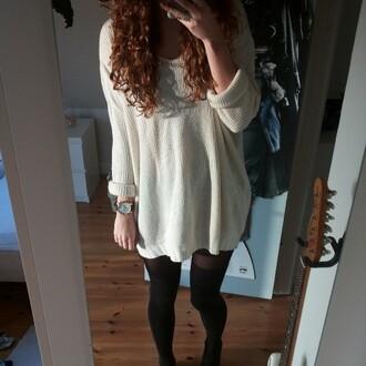 dress sweater sweater dress winter dress winter outfits winter sweater white dress white overknee socks overknees tights underwear