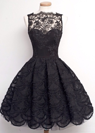 dress black dress lace dress black lace dress bridesmaid lace black flare prom dress ball gown dress