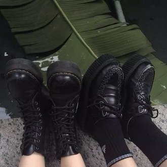 shoes black leather grunge goth pastel cute high wedges creepers dr martins scene cool summer spring fall outfits winter outfits tumblr teenagers girl boots boot lace laces up lace up