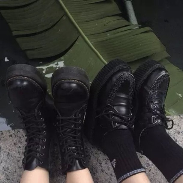 Shoes Black Leather Grunge Goth Goth Pastel Cute High Wedges Creepers Dr Martins Scene Cool Summer Spring Fall Outfits Fall Outfits