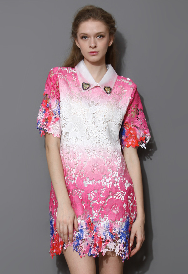 dress sakura pin pink ombre crochet
