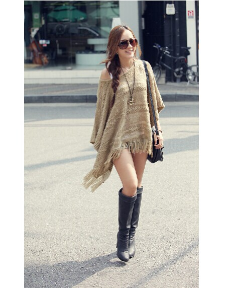 Ms. fashion hollow bat sleeve shawl fringed cape sweater m012 · foreverfashion · online store powered by storenvy
