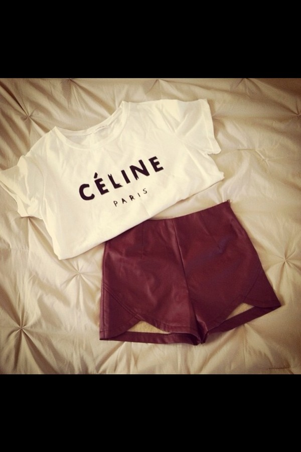 shorts red leather cute shorts red