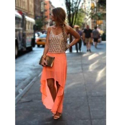 neon orange high low skirt on wanelo