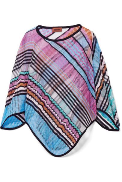 Missoni poncho blue knit crochet top