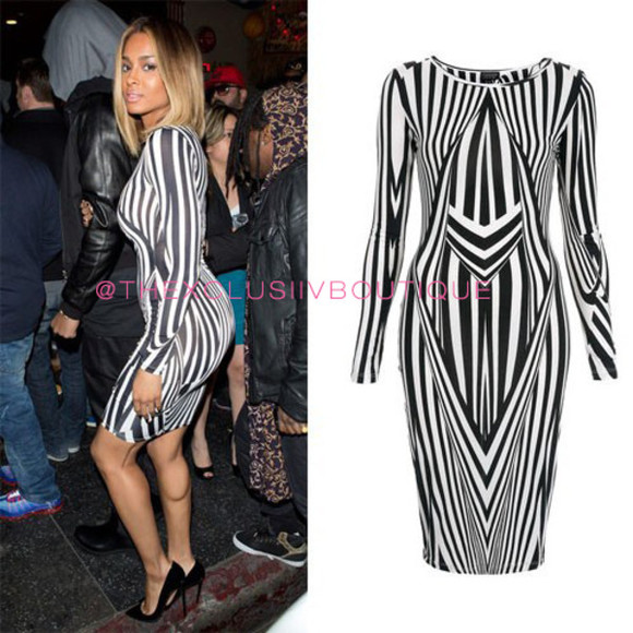 top shop dress ciara kaoir black and white geometric stripe striped stripes bodycon celebrity mini dress celeb little black dress