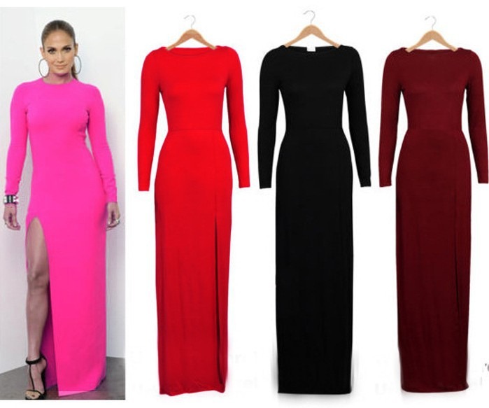 S XXL High Street Women Sexy Side Slit Long Sleeve O neck Bodycon Pencil Party Long Evening dress Free Shipping-in Apparel & Accessories on Aliexpress.com