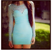 dress,lace dress,1 tealdress,fashion week 2014,beautiful,lace,teal,blue,mint dress,green,mint,fashion,bodycon,tiffany blue,homecoming dress,lace bodycon dress mint,adventure time,long sleeve dress,short dress,lacd,turquoise,spring,party,mesh,tight,slim