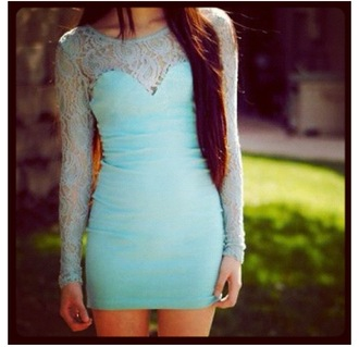 dress lace dress 1 tealdress fashion week 2014 beautiful lace teal blue mint dress green mint fashion bodycon tiffany blue homecoming dress lace bodycon dress mint adventure time long sleeve dress short dress lacd turquoise spring party mesh tight slim
