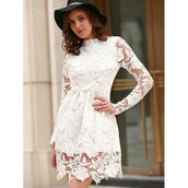 dress,rose wholesale,lace dress,lace,spring outfits,classy,streetwear,girl,casual dress,white dress