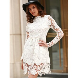 dress rose wholesale lace dress lace spring outfits classy streetwear girl casual dress white dress