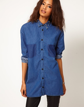 Asos denim shirt in boyfriend fit with studs at asos