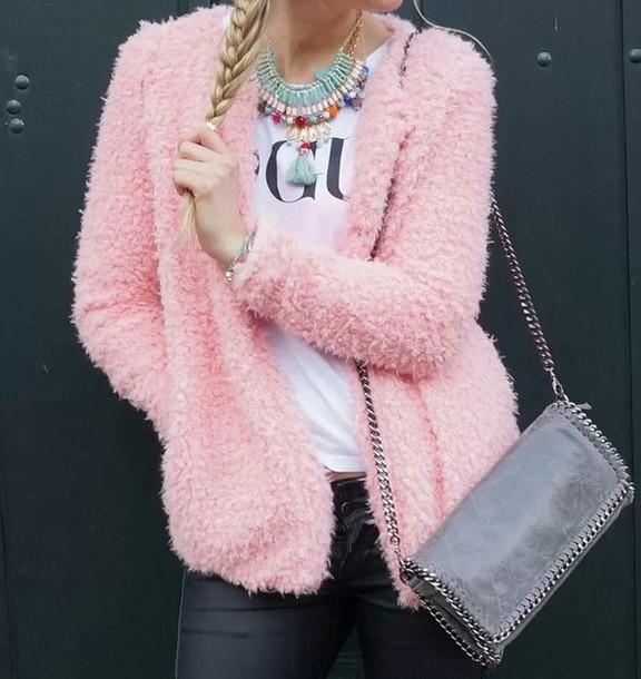 sweater fluffy vest pink sweet cardigan overzised