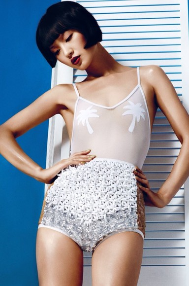 shorts highwaisted shorts top bikini white all white silver metallic silver shorts metallic shorts 3d shorts white shorts editorial