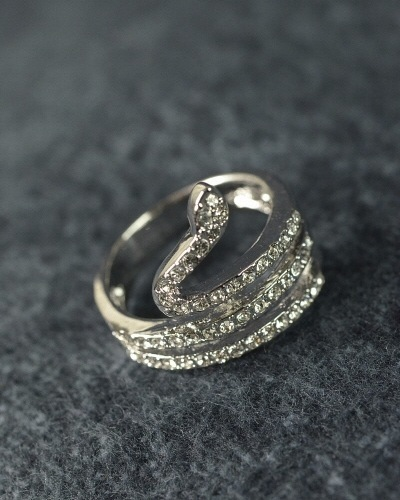 Crystal studded snake ring