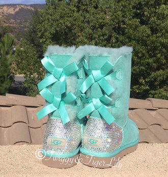 shoes uggs boots bailey bow brown rhinestones