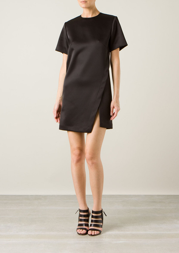 dress dion lee black slit dress