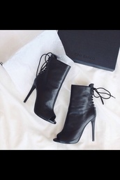 shoes,black,black high heels,little black boots,boots,pointed toe heels,peep toe,peep toe heels,peep toe boots,high heels,ankle boots