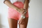 shorts,pink,High waisted shorts,pretty,coral