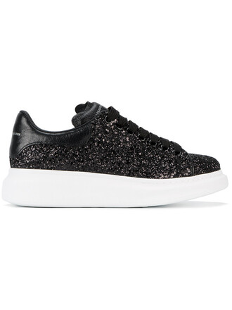 glitter oversized women sneakers leather black shoes