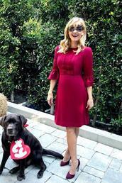 dress,midi dress,burgundy,burgundy dress,red dress,reese witherspoon,instagram