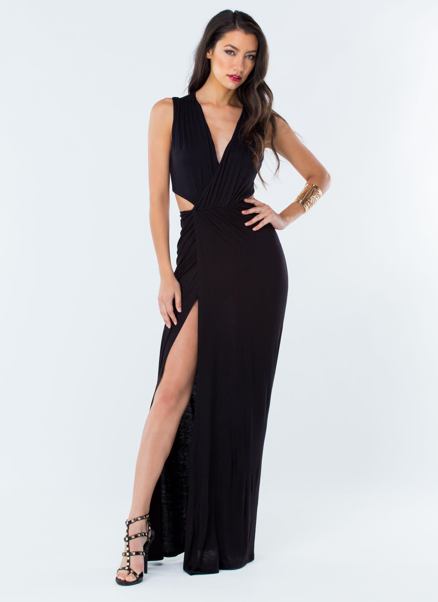 My Goddess Cut Out Maxi Dress Black Gojane