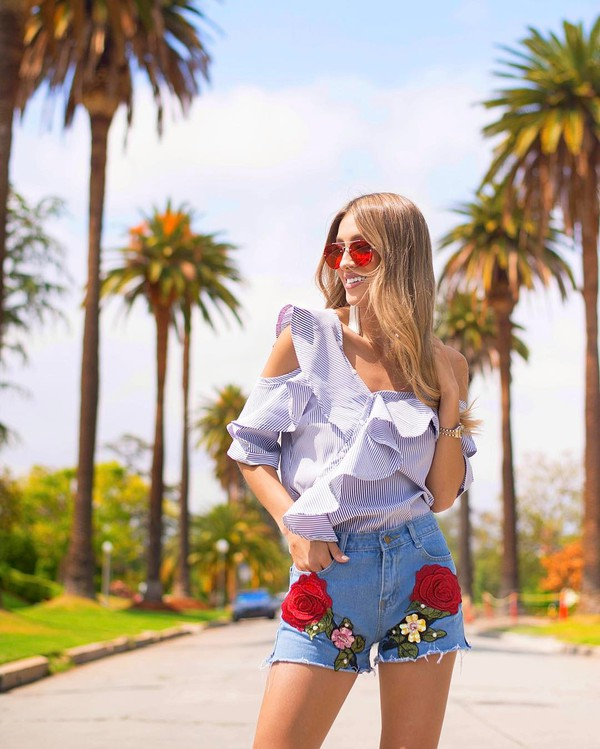 854210128a top tumblr ruffled top blue top ruffle cut-out shorts denim denim shorts  embroidered embroidered.