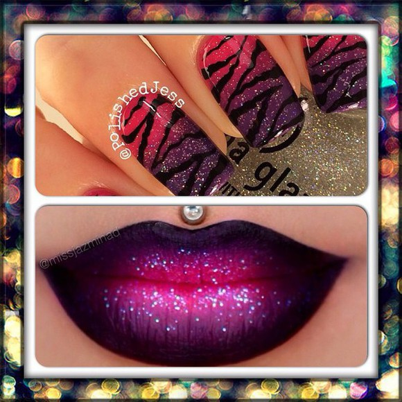 nail polish pink and purple