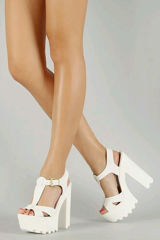 shoes white chucky heels
