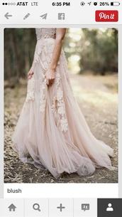 blush,wedding gown