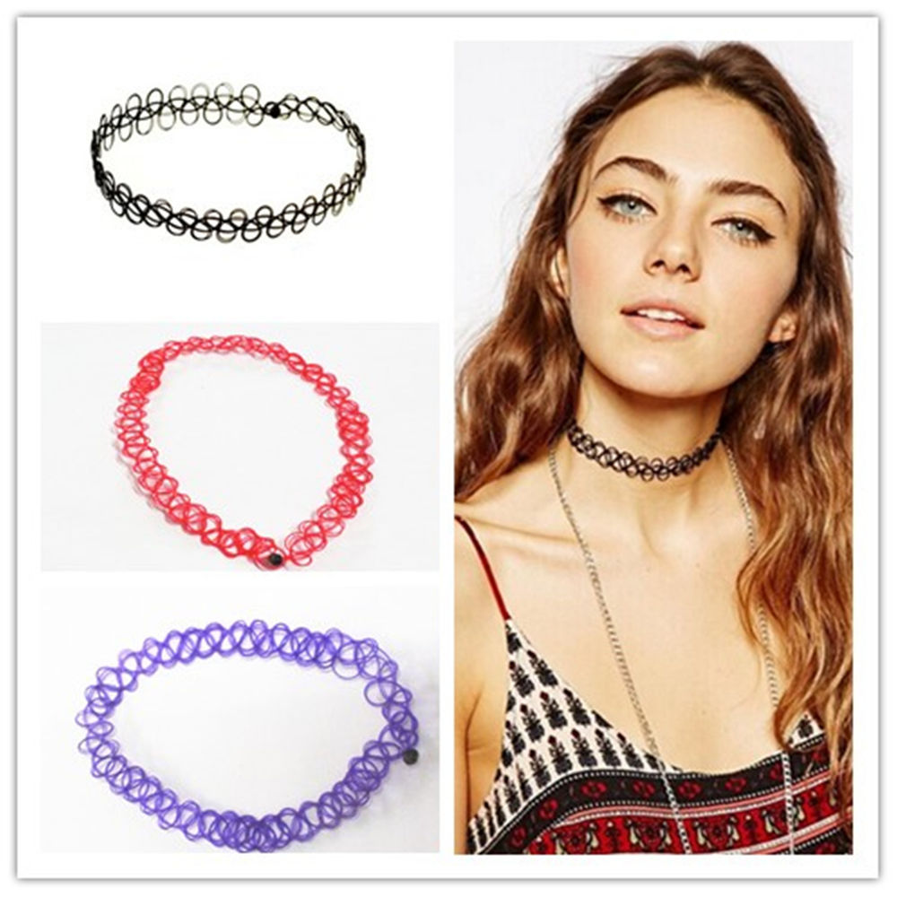 Hot Fashion Vintage Stretch Tattoo 7 color Neck Strap Retro Gothic Punk Elastic