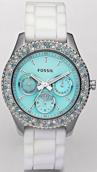 jewels watch aqua fossil