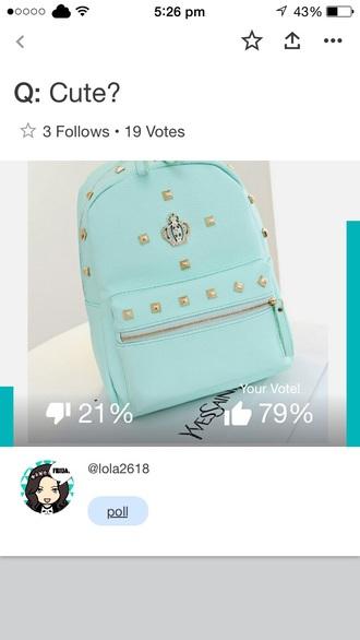 bag mint studs studded bag backpack mintgreen backpack mint green bag