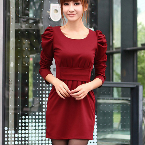 Free shipping spring 2014 dress new miss han ban long sleeved round neck puff sleeve knit dress women backing