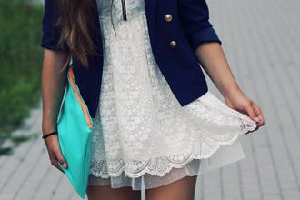 white dress blue jacket jacket dress cute beautiful girl like bag bracelets love clothes fashion