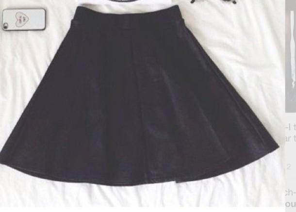 skirt summer black skater skirt
