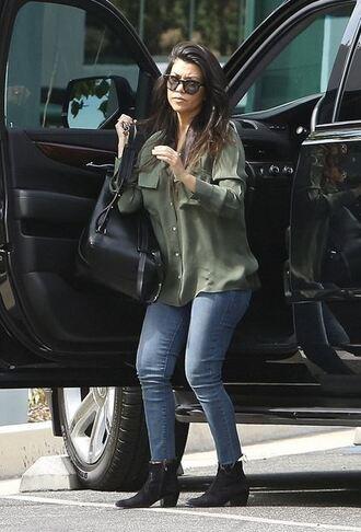 shirt blouse kourtney kardashian jeans streetstyle