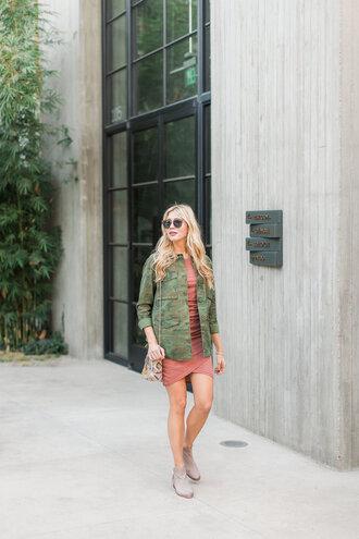 modern ensemble blogger dress jacket shoes sunglasses bag camo jacket ankle boots pink dress