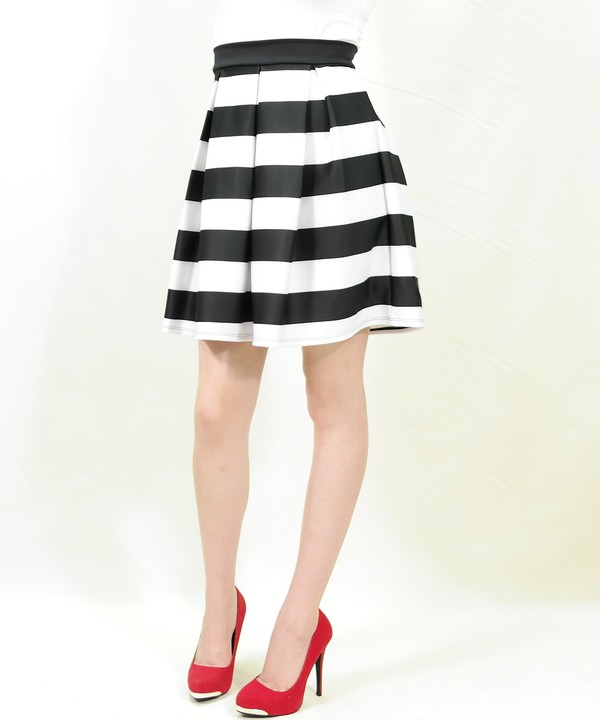 Black and White Striped Katie Skirt full gathered and pleated ...